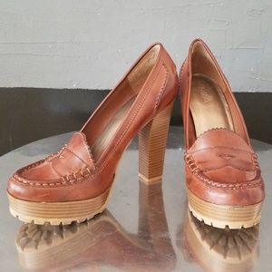 Brown Platform Heeled Pennyloafers